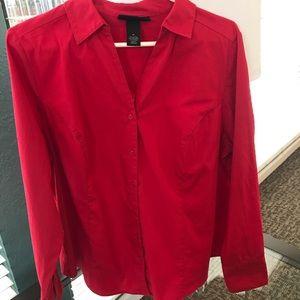 Lane Bryant career button up collard red shirt 18